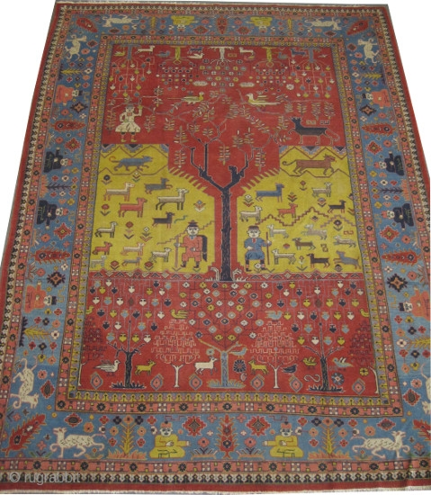 Pictorial Samarkand carpet knotted circa 1925. Collector's item, 
