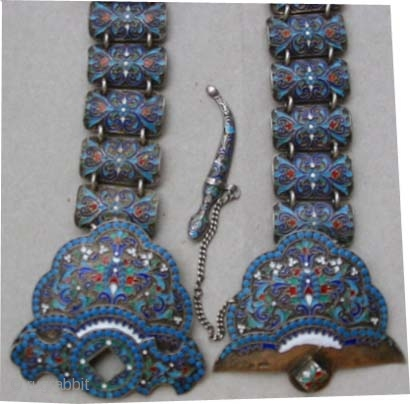 "Russian belt silver enameled 1870 antique, collector's item, Size: 70 x 3 (cm) 2' 4"" x 1""  carpet ID: FR-5 