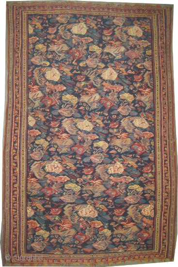 "Senneh Kelim with silk Persian, circa 1860, antique. Collector's item. Size: 200 x 127 (cm) 6' 7"" x 4' 2""  carpet ID: A-649 