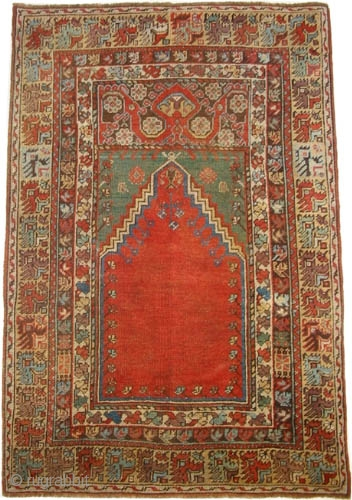 "Mudjur prayer, Anatolian, circa 1820, antique. Collector's item. Size: 133 x 98 (cm) 4' 4"" x 3' 3""  carpet ID: K=1314a
