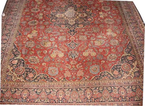 """Kashan Persian knotted circa in 1935 semi antique, 462 x 348 (cm) 15' 2"""" x 11' 5""""   carpet ID: P-6078 The knots are hand spun wool, the background color is brick, the  ..."""