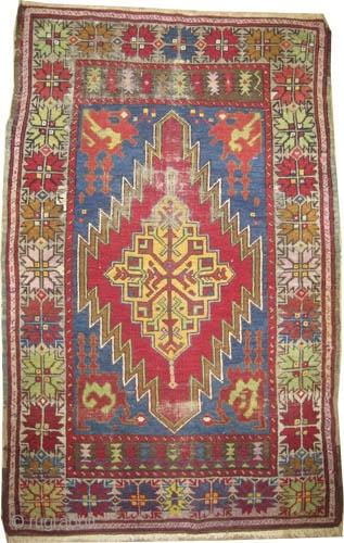 "Tashpinar Turkish, circa 1900, antique,  Size: 154 x 94 (cm) 5' 1"" x 3' 1""  carpet ID: K-4342  Vegetable dyes, the black color is oxidized,the knots are hand spun  ..."