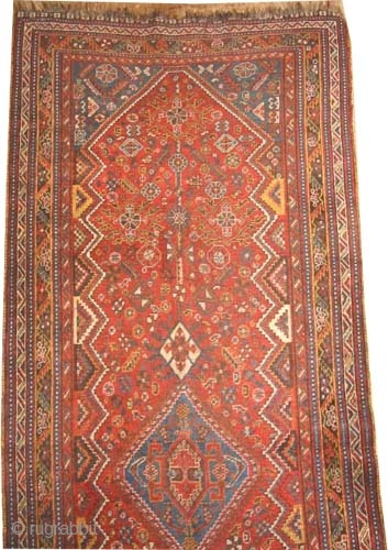 "Qashqai Persian circa 1925, semi-antique, Size: 294 x 114 (cm) 9' 8"" x 3' 9""  carpet ID: K-5618 