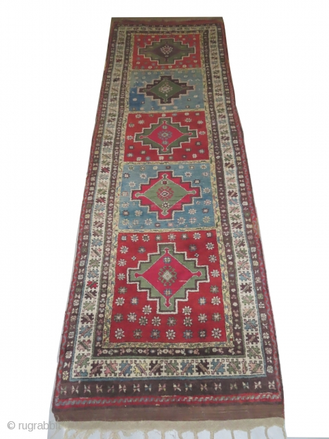 Konya Turkish, knotted circa in 1910, antique, collectors item, 110 x 348 cm, carpet ID: LUB-8 The knots, the warp and the weft threads are hand spun wool. The black color is oxidized,  ...