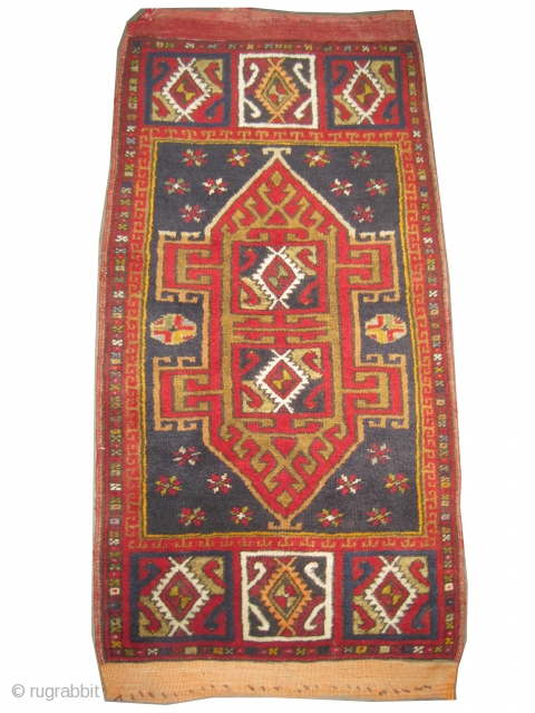 """Karapinar Anatolian, circa 1900, antique. Collector's item, Size: 94 x 52 (cm) 3' 1"""" x 1' 8""""  carpet ID: K-3755  the black color is oxidized, the warp and the weft threads  ..."""