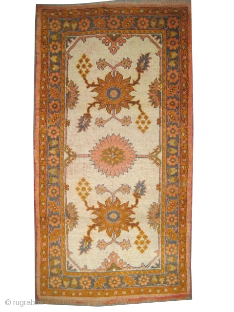 "Ushak Anatolian circa 1910 antique. Size: 207 x 108 (cm) 6' 9"" x 3' 6""  carpet ID: K-4967  Ivory background, the two edges are finished with tiny kelim, acceptable condition, soft  ..."