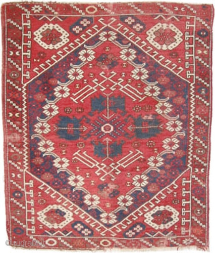 "Bergama Anatolian, circa 1880 antique. Collector's item, Size: 110 x 94 (cm) 3' 7"" x 3' 1""  carpet ID: K-4690 