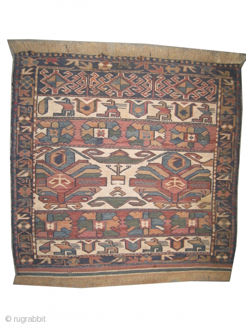 "Soumak Caucasian bag face circa 1915. Antique. Collector's item. Size: 61 x 59 (cm) 2'  x 1' 11""  carpet ID: A-861 