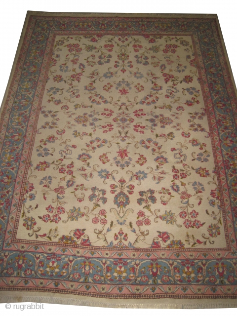 """Kirman Persian 1935. Size: 292 x 213 (cm) 9' 7"""" x 7'   carpet ID: FM-5  Fine knotted and elegant carpet,the background is ivory, the surrounded large border is sky  ..."""
