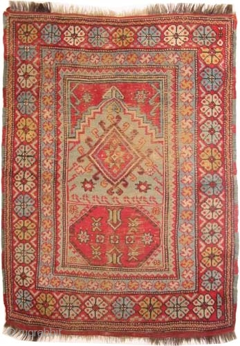 """Bergama Ada prayer Turkish circa 1860 antique. Collector's item, Size: 158 x 121 (cm) 5' 2"""" x 4'   carpet ID: K-5099 village rug, rare example, vegetable dyes, the black color is  ..."""