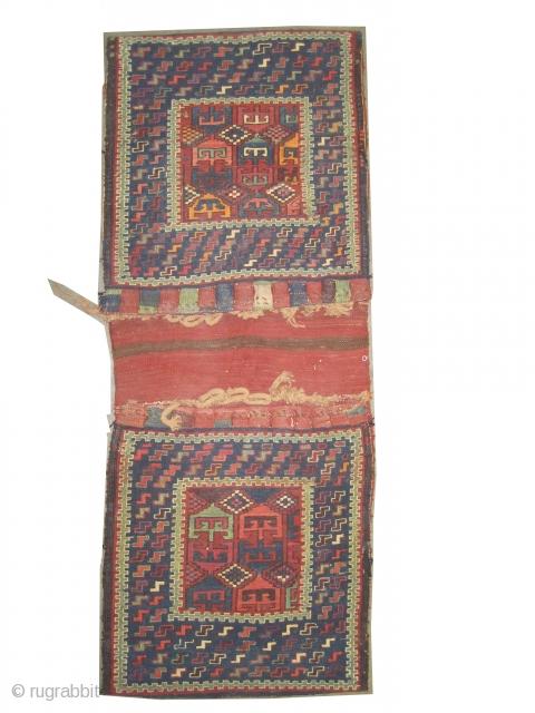 "Zille Khurjin Caucasian circa 1910, antique Zille-Soumak. Collector's item. Size: 145 x 58 (cm) 4' 9"" x 1' 11""  carpet ID: A-1098 Dragon design. Vegetable dyes, hand spun 100% wool, the back  ..."
