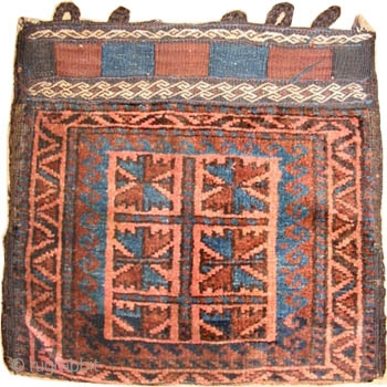"""Belutch bag Persian, circa 1915, antique. Size: 41 x 39 (cm) 1' 4"""" x 1' 3""""  Carpet ID: K-1542 Perfect condition, the knots are hand spun wool, vegetable dyes, the back covered  ..."""