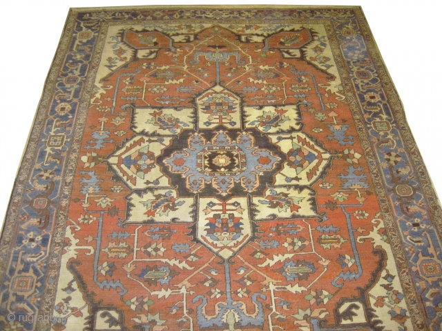 """Serapi Heriz Persian circa 1880 antique. Collector's item. Size: 382 x 300 (cm) 12' 6"""" x 9' 10""""  carpet ID: P-1286 Vegetable dyes, good condition, the black colour is oxidized, the background  ..."""