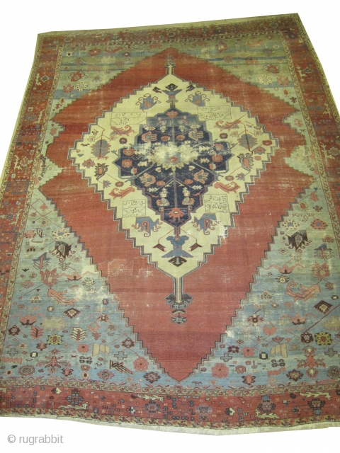 "Bakshaish Heriz Persian dated, antique. Collectors item, Size: 385 x 281 (cm) 12' 7"" x 9' 3""  carpet ID: P-3302