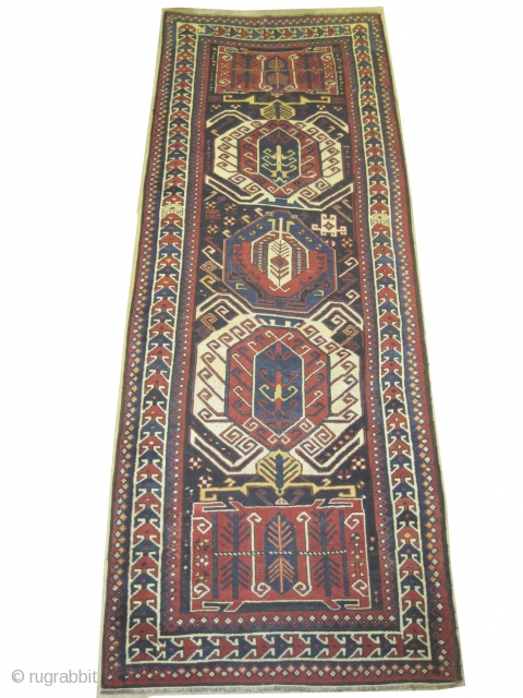 """Lenkoran Caucasian, circa 1880 antique. Size: 330 x 118 (cm) 10' 10"""" x 3' 10""""  carpet ID: SA-1200  Vegetable dyes, the black color is oxidized, the two salvages are woven on  ..."""