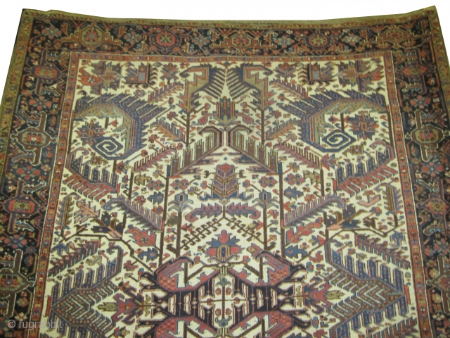 """Heriz Persian knotted circa in 1923 semi antique, 320 x 250 (cm) 10' 6"""" x 8' 2""""   carpet ID: P-5528 Thick pile, in good condition, ivory background, the surrounded large border is  ..."""