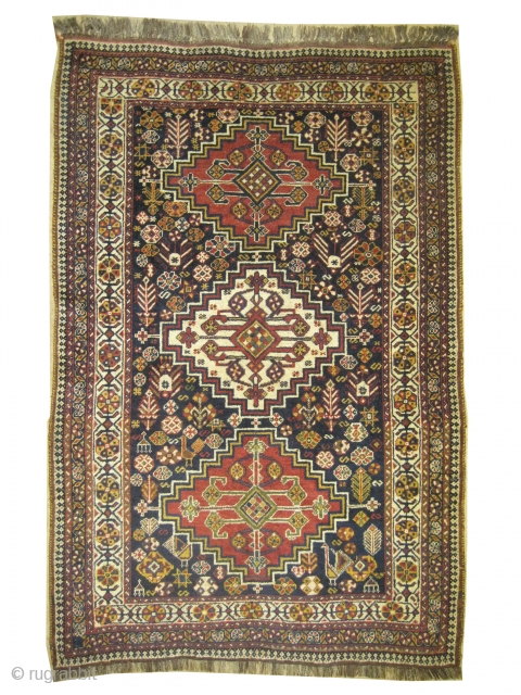 """Qashqai Persian knotted circa in 1915 antique, collector's item. 195 x 127 (cm) 6' 5"""" x 4' 2""""  carpet ID: E-190 High pile, in perfect condition, the warp and the weft threads  ..."""