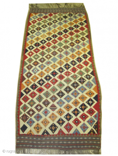 "Qashqai kelim Persian circa 1890 antique. Collector's item, Size: 320 x 150 (cm) 10' 6"" x 4' 11""  carpet ID: A-711 woven with hand spun wool, the background color is  ..."