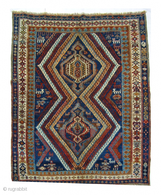 Persian Nomadic Afshar or a Luri ghalicheh, late 19th C. all wool, natural vegetable dyes, size: 203x160 cm. Minor restoration which is completed. A beautiful example of a folk nomadic art. full  ...