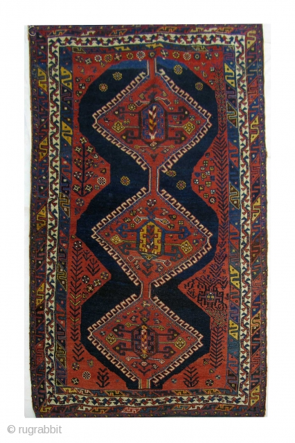 Persian nomadic Luri, late 19th century, all wool, natural vegetable dyes, rewoven on both ends for 4 cm, gallery rug. size c. 280x140 cm.         