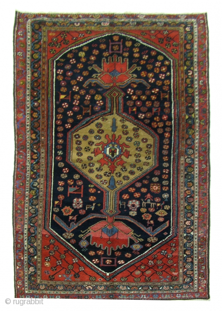 Rug No: 663- Antique Kurdi, circa 1910, rare piece, Taleghan or Qazvin area, Northern Persia. Minor restoration, in superb condition. Natural vegetable dyes. size: 205x132 cm