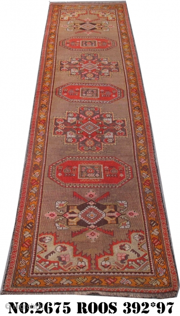 Rug No: 2675, Caucasian runner, restored, all wool. 