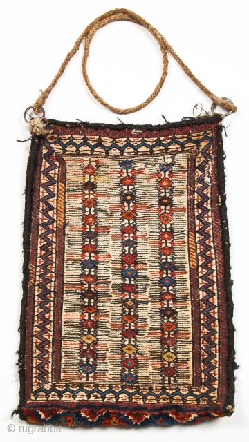 Finely woven attractive Baktiari sumak bag with many dyes on traditional white ground and a plush pile panel along bottom. Decorated on front and back -- see close-up images -- 12 x  ...