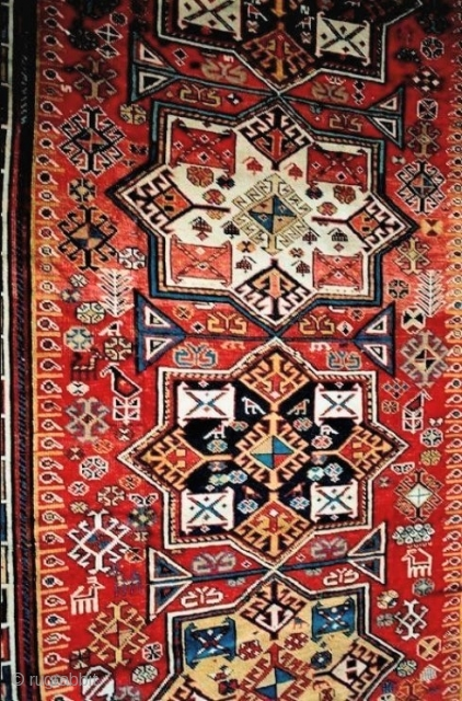 AAkstafa, earlier than most, outstanding color and design; mid-19c or before. About 5 x10 feet ( 152 x305 cm)
