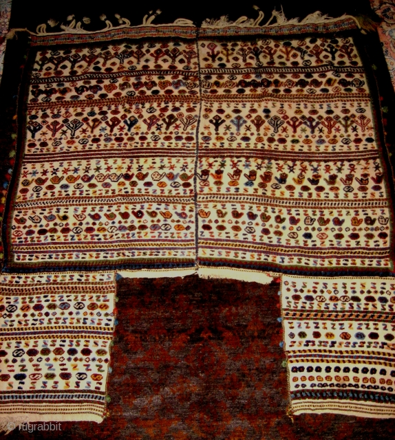 Large and beautiful Qashqa'i ceremonial horse cover, last quarter 19c, impressive size of approx. 60 x 60 inches (152 x 152 cm). I bought this from Bolour on Ferdowsi Street in Tehran  ...