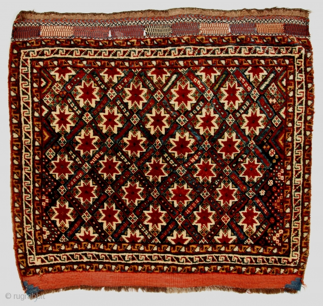 An outstanding Qashqa'i pile khorjin face from the Marsh Collection; ex-collection Jerrehian Family, via George O'Bannon. Published in ICOC's Oriental Rugs in Atlantic Collections, p. 233, fig. 291.