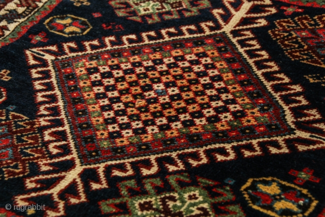 Unusual SW Persian Lur khorjin face with unique checkerboard medallion. Last quarter 19c. Excellent original condition, finely woven, velvety wool and glowing natural colors. Terrific collector piece. Minor loss at bottom, rewrapped  ...