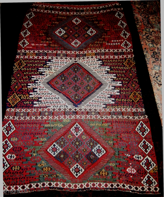 Finely woven East Anatolian Kurd slit-weave kilim, single loom-width, 122x 244 cms (4x8 feet); c 1850, possibly missing one medallion, fabulous dyes include green and yellow, loose floppy handle, very tiny domestic  ...