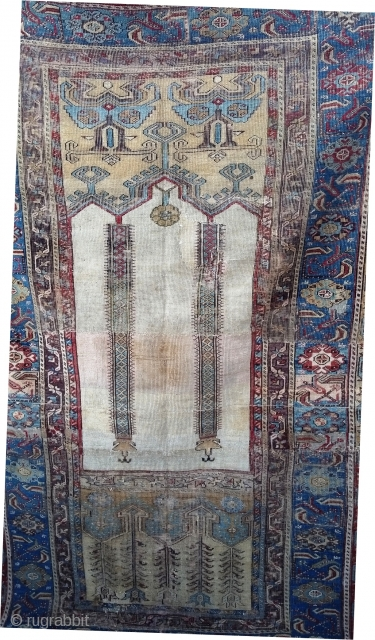 18th century Ladik prayer rug reduced in length with wear yet preserves its Classical architecture, a beautiful ivory mihrab, and classic tulip border. Condition as shown. Reasonably priced.