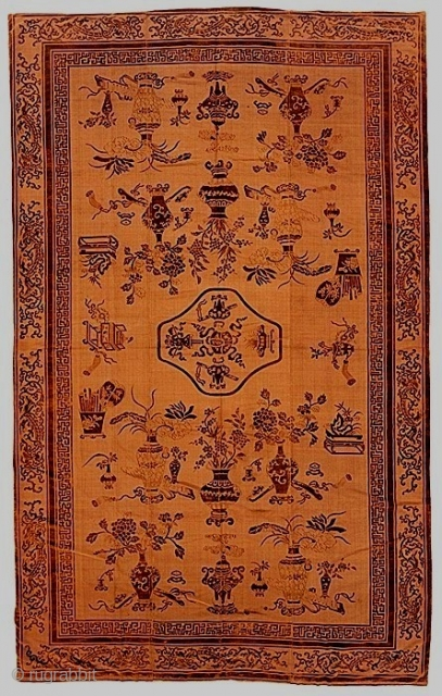 Copper-colored silk voided velvet brocade carpet, China, first half 19c, approx. 5 X 11 feet.