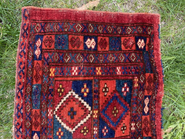 "SOLD! Thanks! Anyone redecorating and looking for a splash of color? Ersari torba! 54""x17"". Natural dyes. Splendid orange like a Tekke! Please inquire as to price."