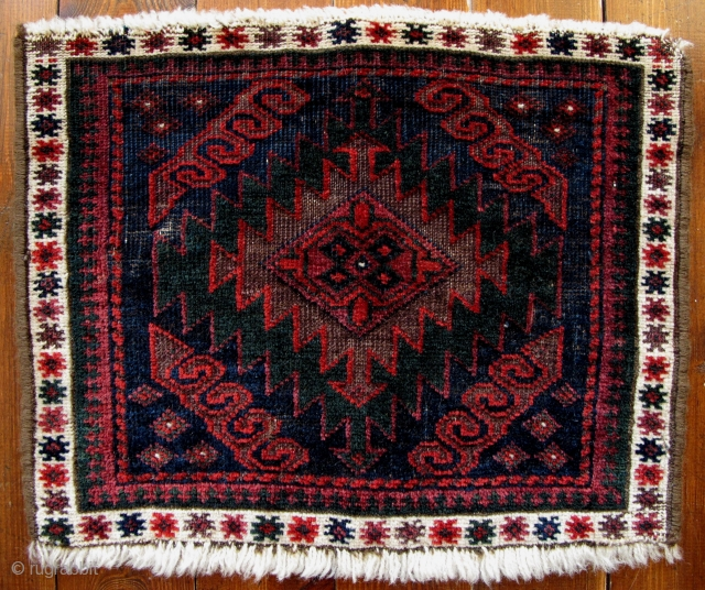 Baluch Small Bagface,42x35cm,ca 1900,beautiful all natural colors,soft and silky wool,very fine weave,slightly missing sides and ends.Yummy!