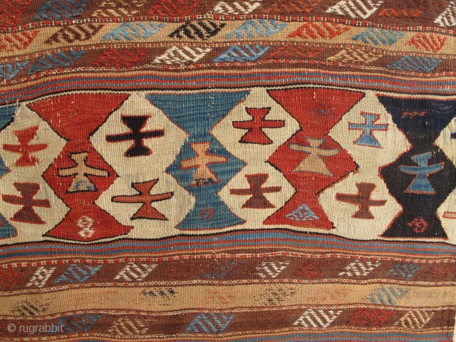 Anatolian Kilim Half,2nd half 19th century,70x300cm,proffessionaly mounted on linen.Joyful!
