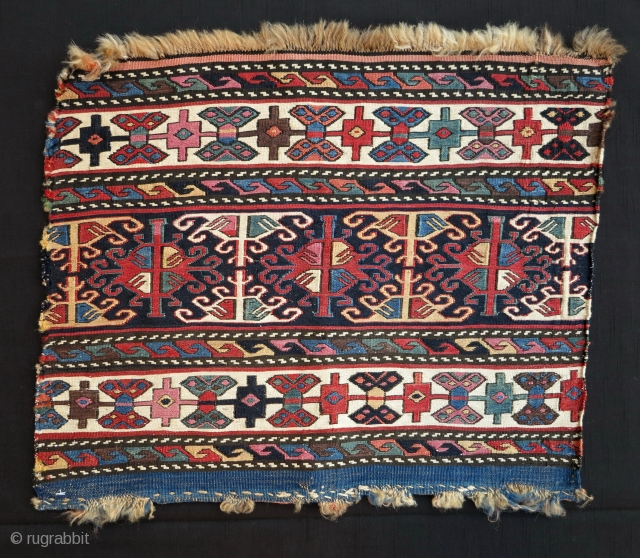 Shahsavan Sumak Mafrash End Panel, 19th century, extremely colorful (including nice cochineal) with glowing colors on shiny wool and fine weave. A quality piece!