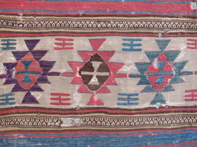 18th century Anatolian Kilim,120x190cm(original size),gorgeous old colors,very fine weave,mounted.Outstanding in it's qualities and beauty!!!