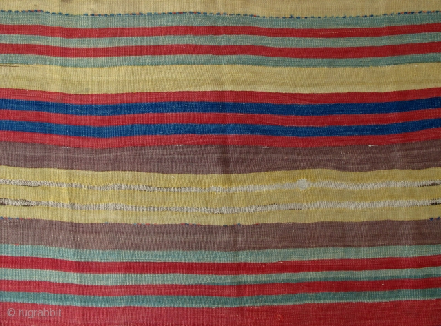 ca. 1800 Central Anatolian Striped Kilim Fragment,150x270cm,beautiful and clear soft pallete,typical to Cappadoccia,professionally mounted on linen.