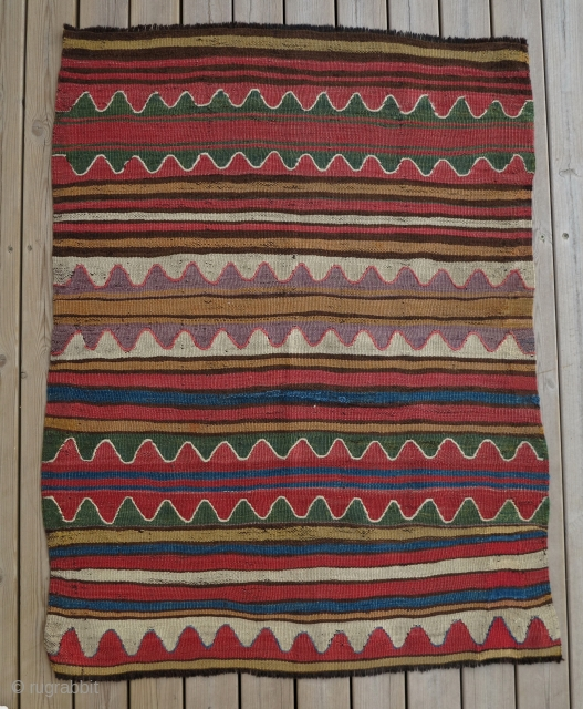 Anatolian Mut Kilim Fragment, mid 19th century, 90x115cm, great colors in a beautiful stripes and waves!