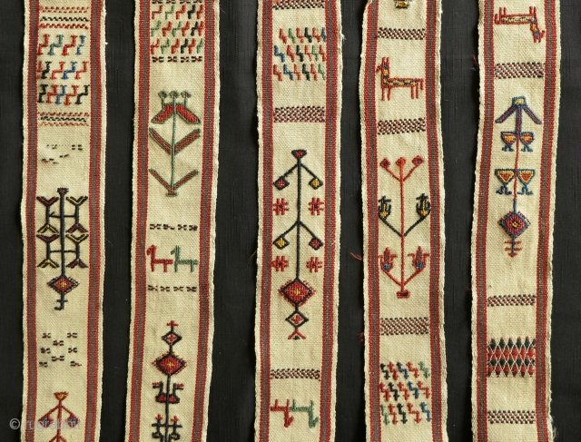 Rare Animal Pack Band (malband), 19th century, 9x650cm. A dowry item that might be attributed to one of the turkic tribes of Persia, finely woven using extra weft wrapping(on a warp faced  ...