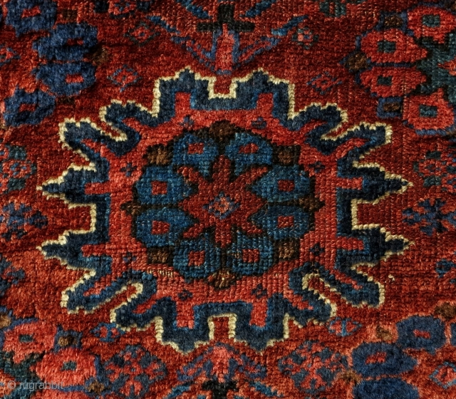 Mystery Persian? Tribal Bagface, 19th century, 50x43cm, silky wool with nice patina, great colors of rare palette, very fine weave, beautiful old looking back, collectors treasure!!!
