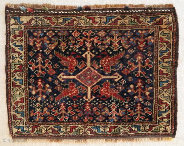Southwest Persian Chanteh Face, 35x45cm, extremely fine weave, velvety and shiny wool, glowing all natural  colors. Real Jewel!!!
