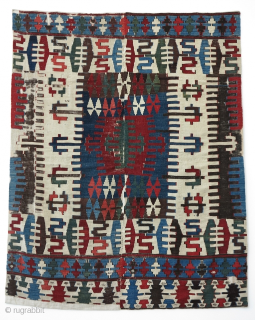 Early Anatolian Kilim Fragment, ca.1800, 150x190cm, beautiful and unusual palette, fine weave. Bold and Powerful!!!