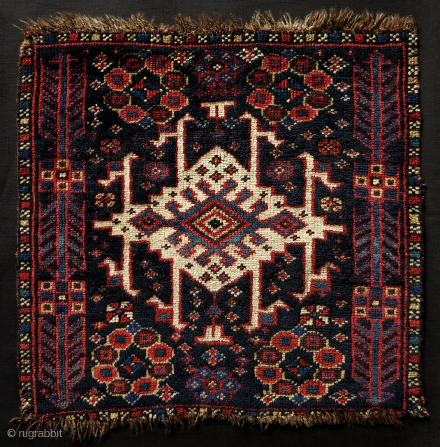 Persian Bagface,47x47cm,19th century,unusual design,great qualities and condition (though probably the outer borders are  missing).Very Attractive!!!