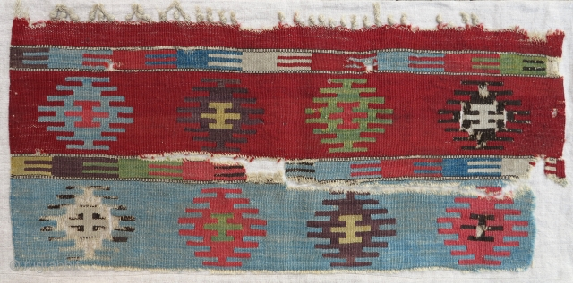 Early Anatolian Kilim fragment, 18th century, 35x70cm, supreme qualities, mounted, this fragment is one of the ends of probably a world class kilim half (original warp endings and selvages)...