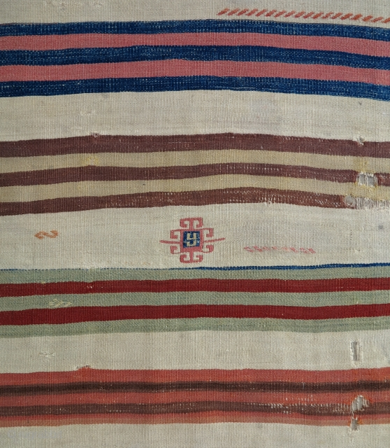 Anatolian Striped Kilim Fragment, ca.1850, 100x275cm, very pleasing soft palette, professionally mounted on linen, elegant and rare!!!