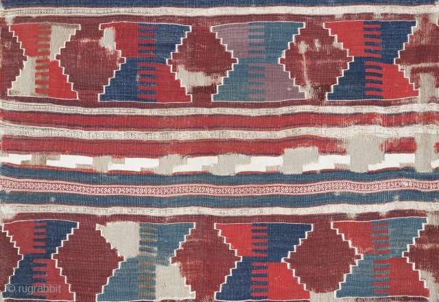 Early Anatolian Kilim Fragment, Ex Sailer Collection, 18th century or earlier, 190x295cm, very fine weave, rare and sophisticated design, early color palette with cotton highlights, professionally mounted on linen. Monumental!
