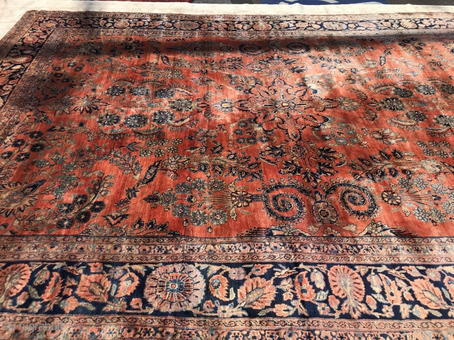 9.6x13.6 antique persian sarouk mohajeran full pile perfect condition no damages or worn. 